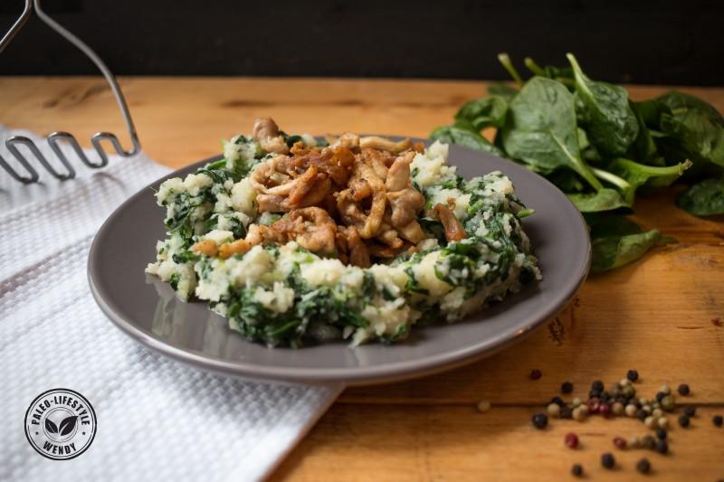 Paleo recept - spinaziestamppot met knapperige kipreepjes