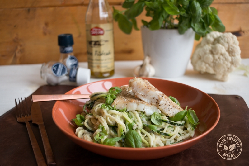 Paleo recept- spaghetti met roomsaus en kabeljauw